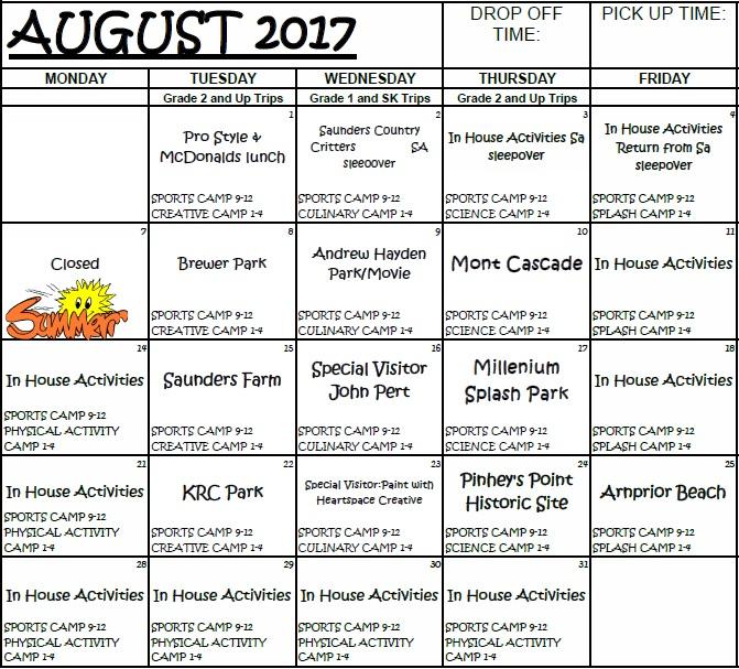 Sample SA Summer Calendar Aug