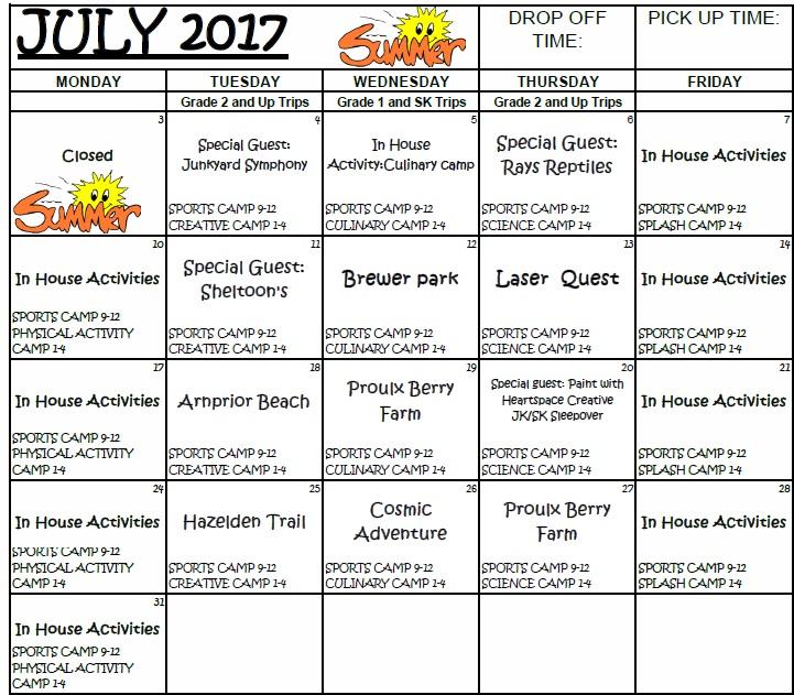 Sample SA Summer Calendar