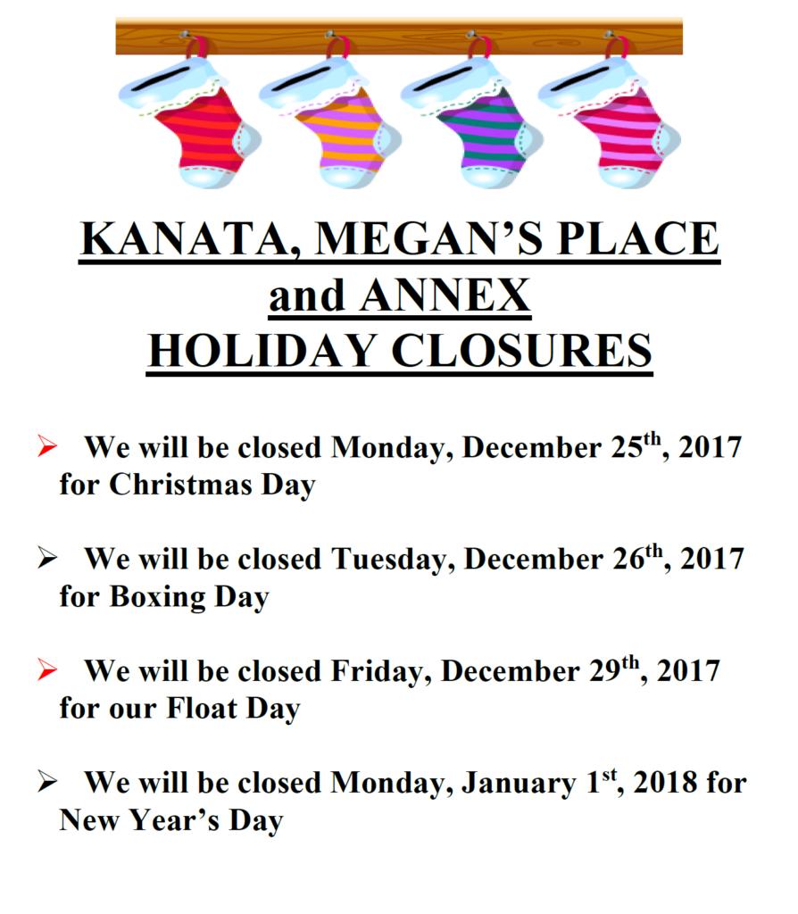Holiday Closures 2017