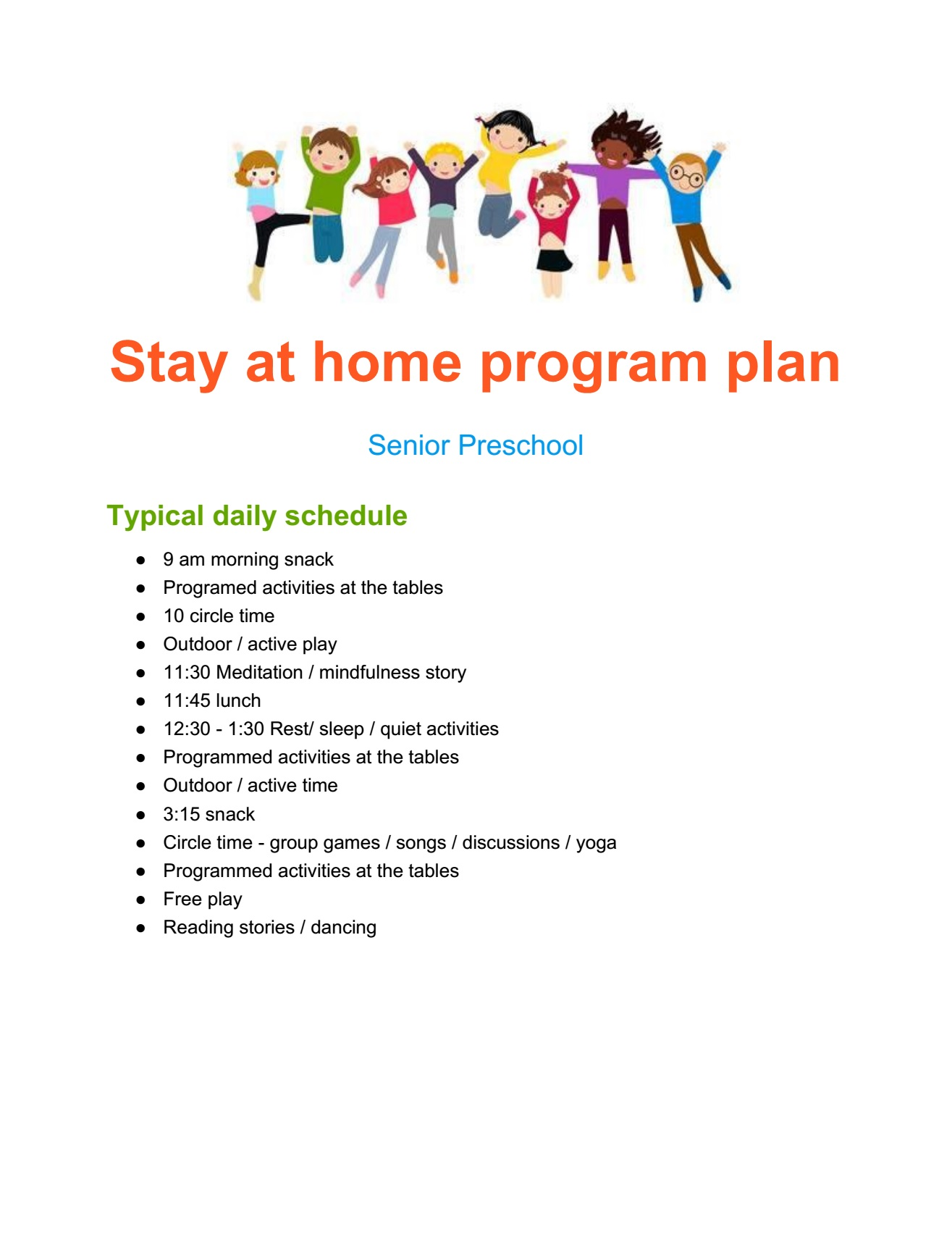 Stay at home program plan Sr Preschool page 1