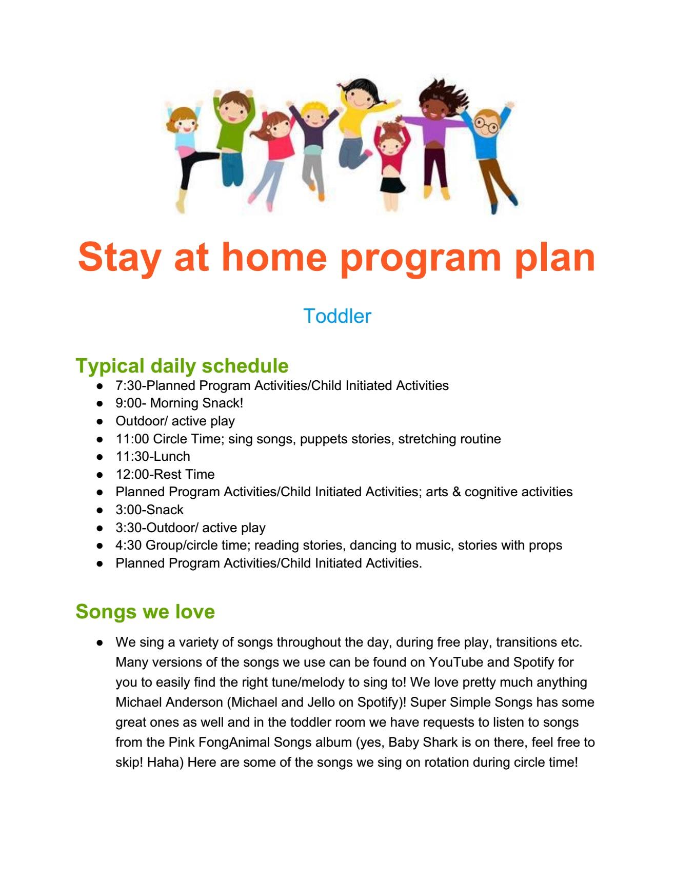 Toddler plan page 1
